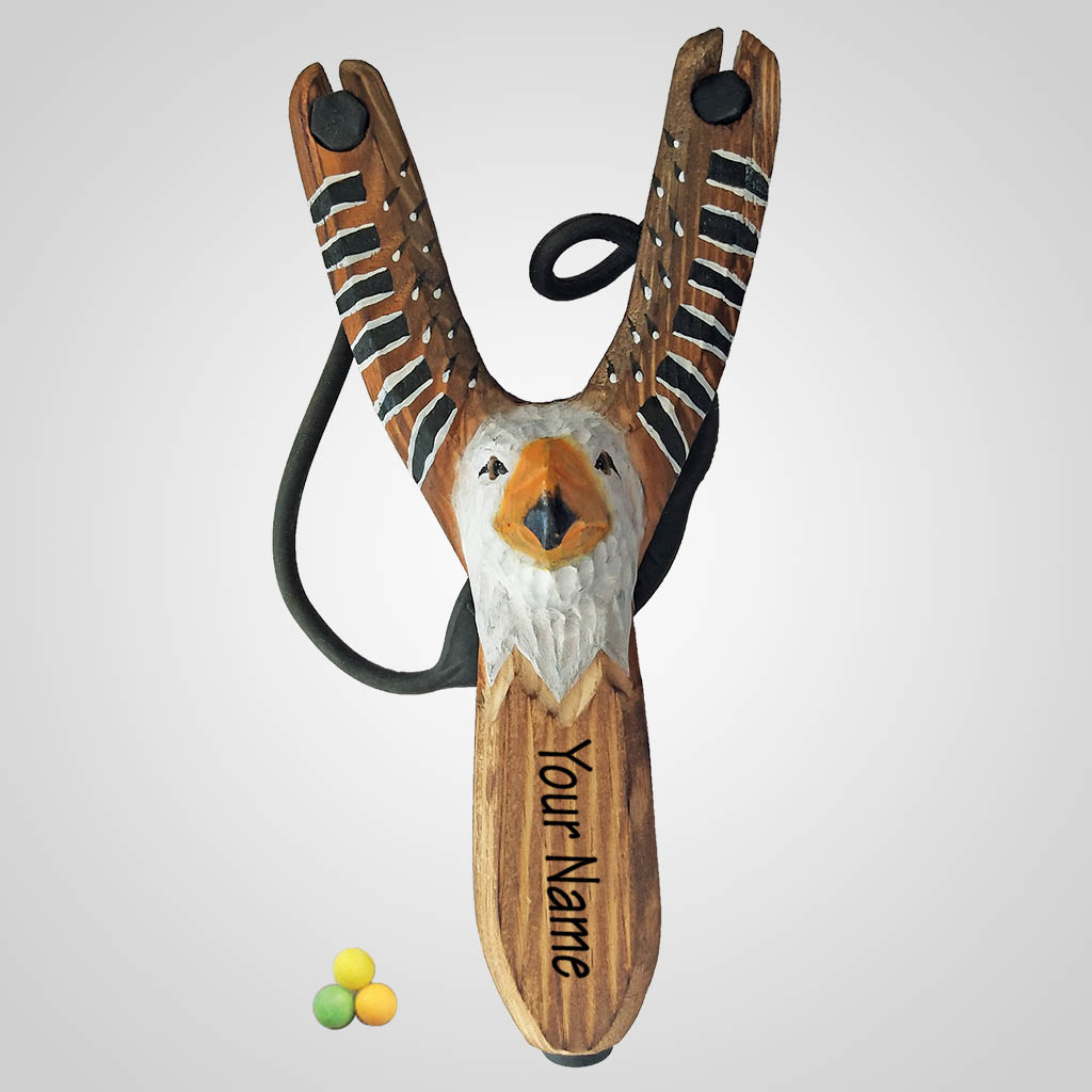 63273IM - Carved Wood Eagle Slingshot w/ Ammo, Imprinted