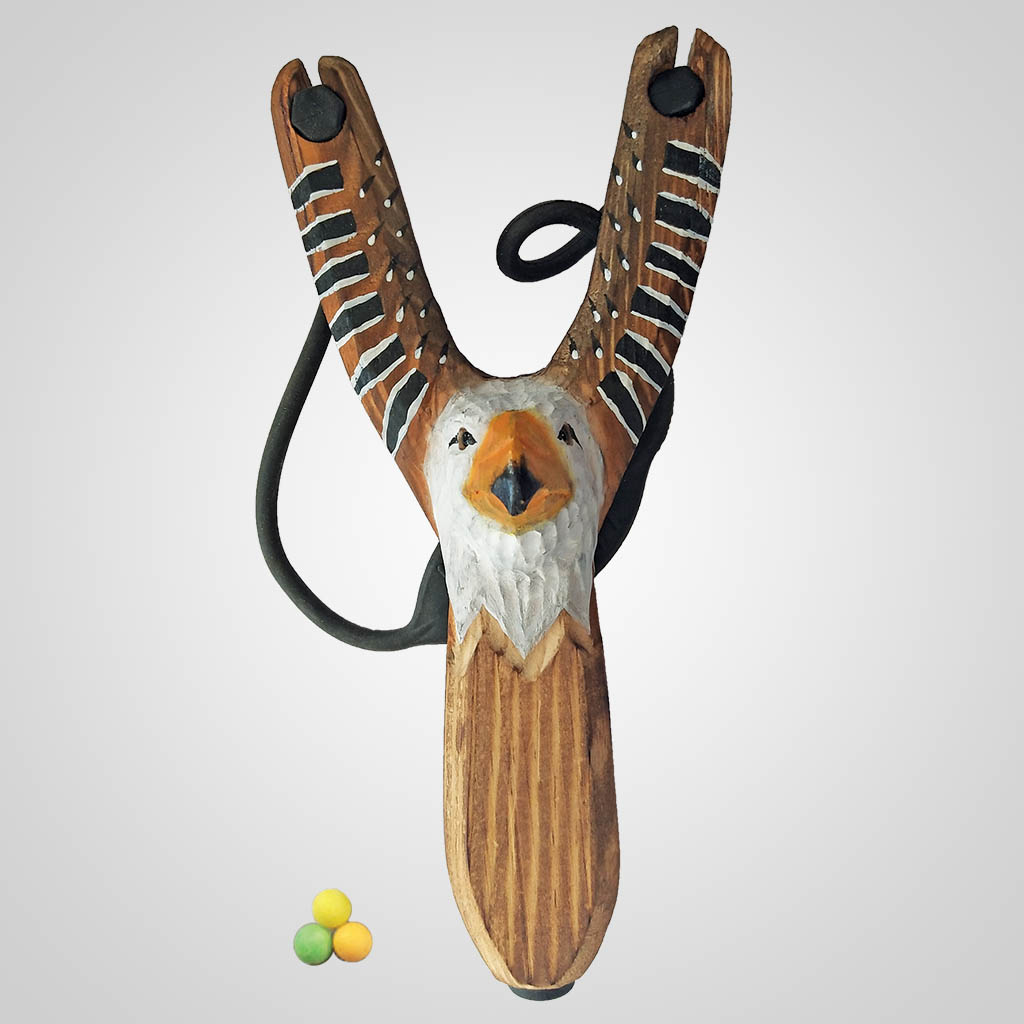 63273PL - Carved Wood Eagle Slingshot w/ Ammo