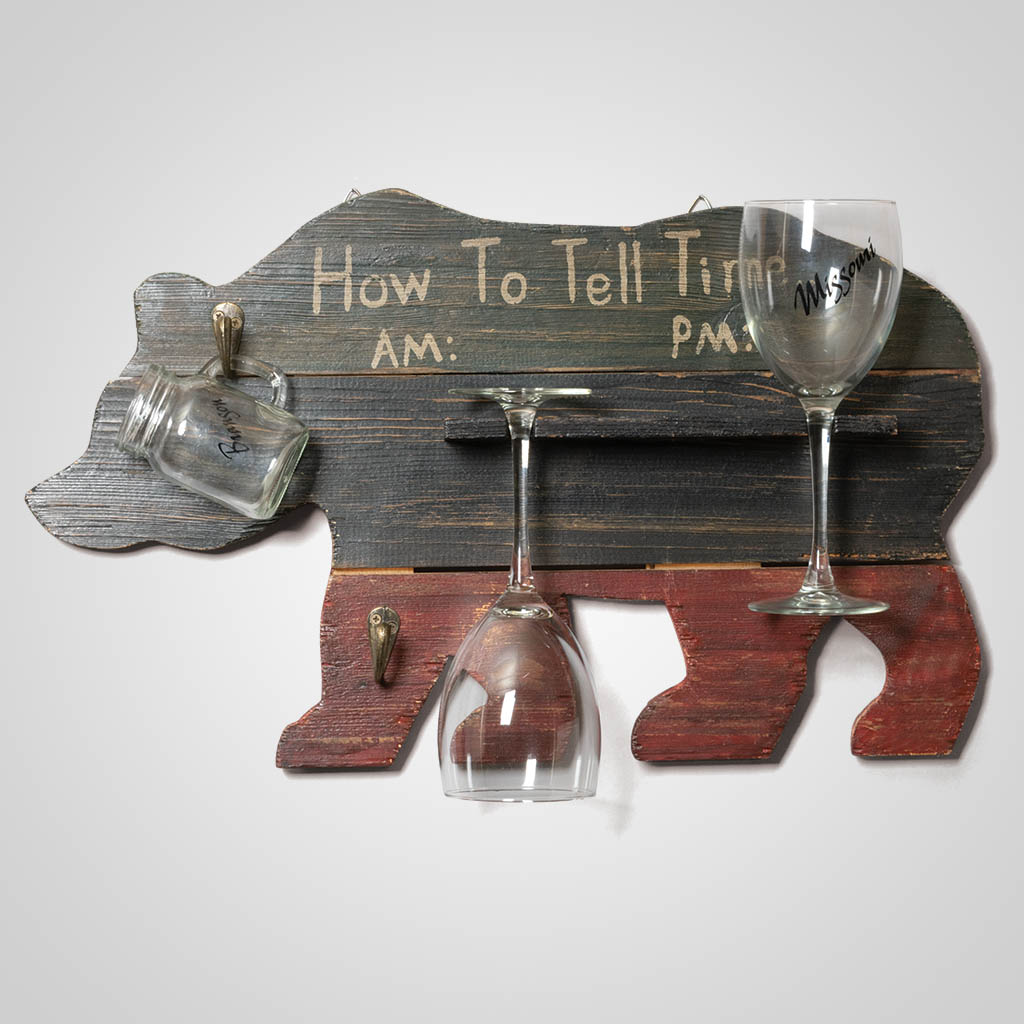 63277 - How To Tell Time Wood Bear Plaque