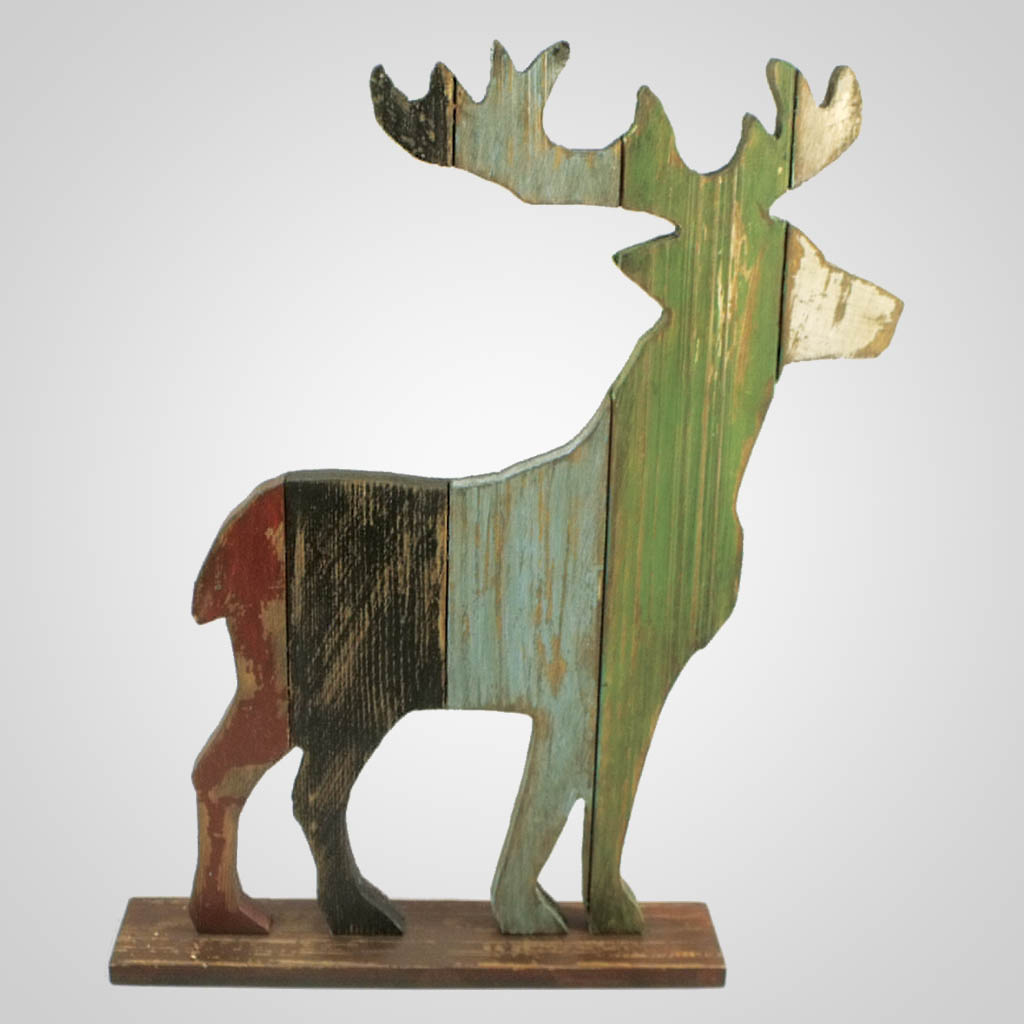 63278 - Wood Pallet Standing Deer Decor