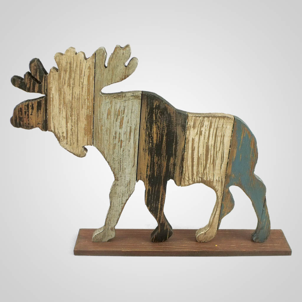 63279 - Wood Pallet Standing Moose Decor