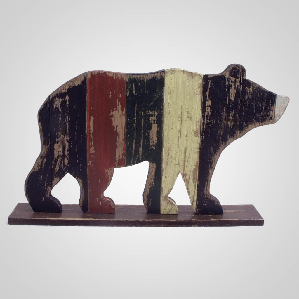 63280 - Wood Pallet Standing Bear Decor