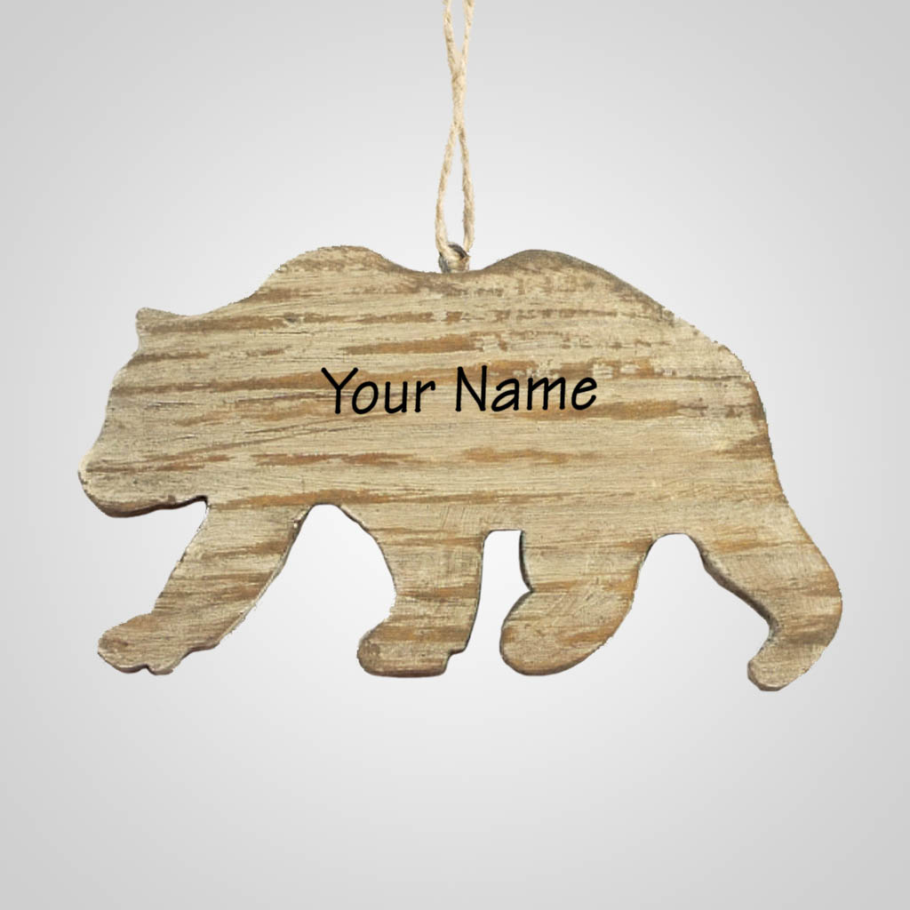 63282IM - Washed Wood Bear Ornament, Name-Drop