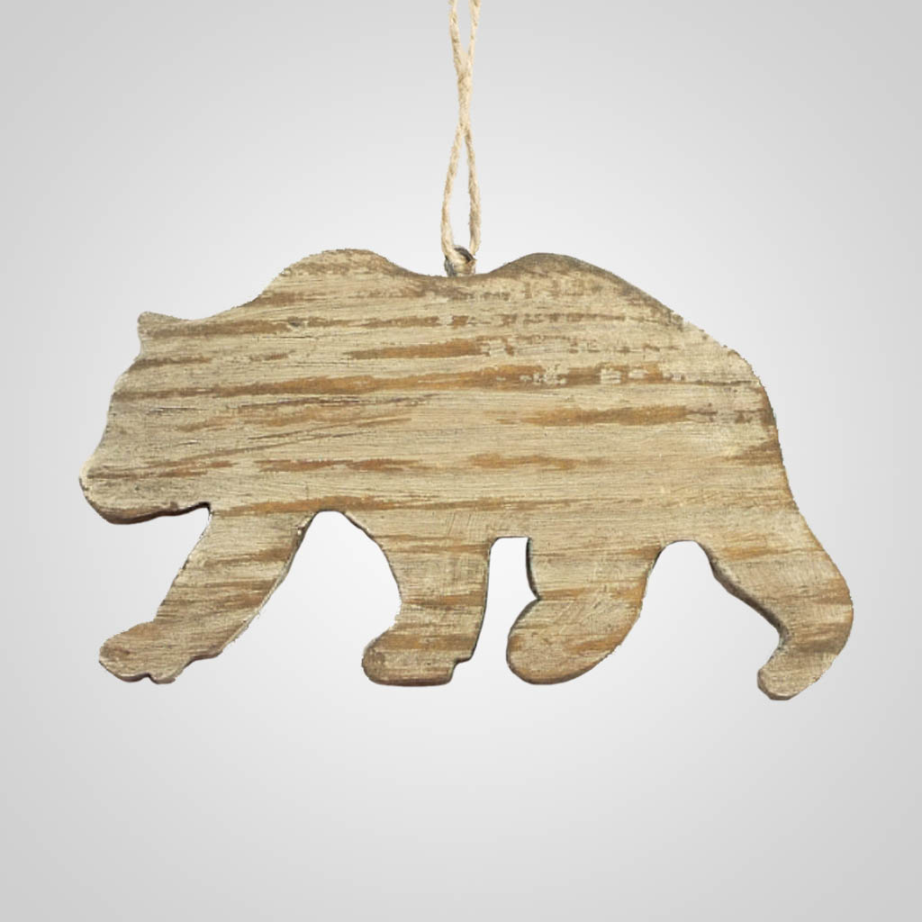 63282PL - Washed Wood Bear Ornament, Plain