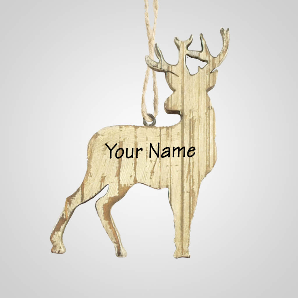 63283IM - Washed Wood Deer Ornament, Name-Drop