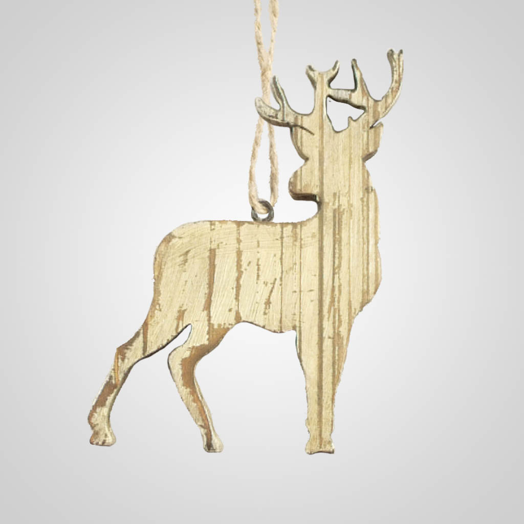 63283PL - Washed Wood Deer Ornament, Plain