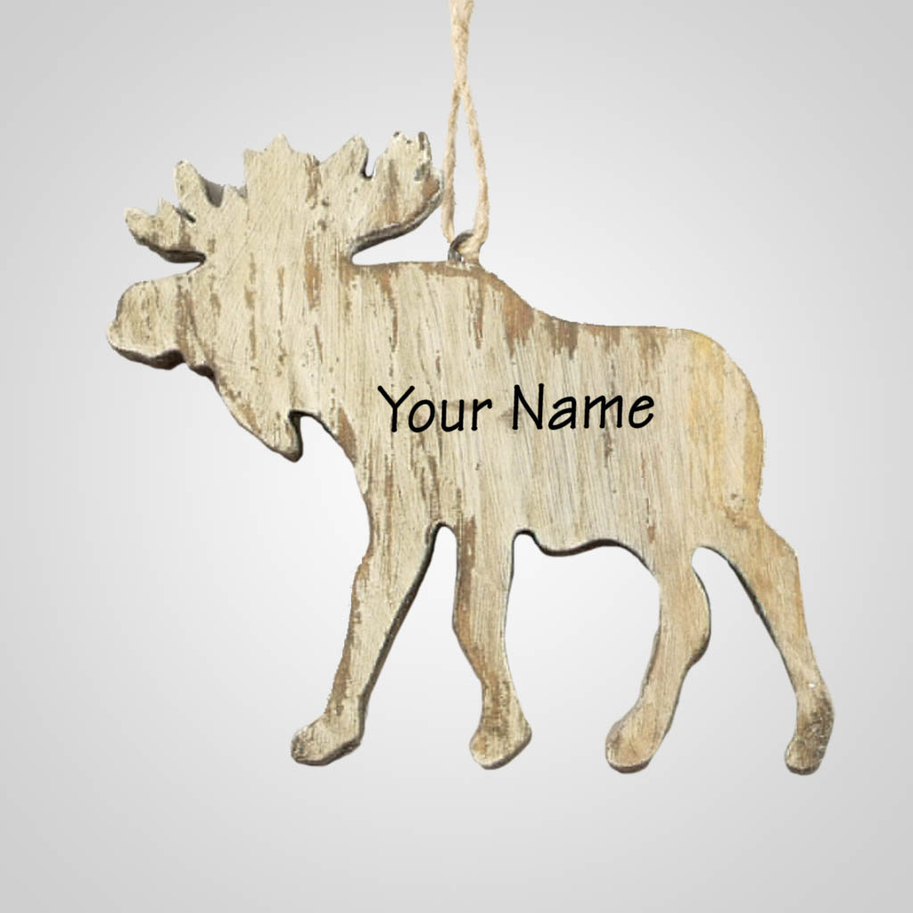 63284IM - Washed Wood Moose Ornament, Name-Drop