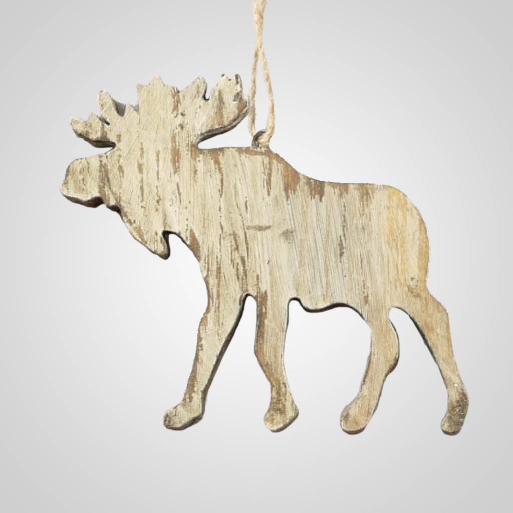 63284PL - Washed Wood Moose Ornament, Plain