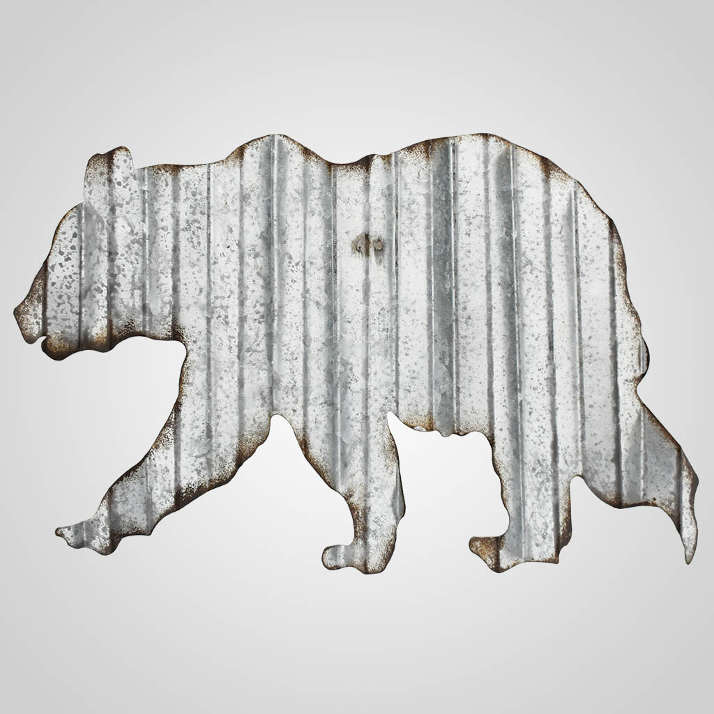 63346 - Corrugated Metal Bear Wall Art