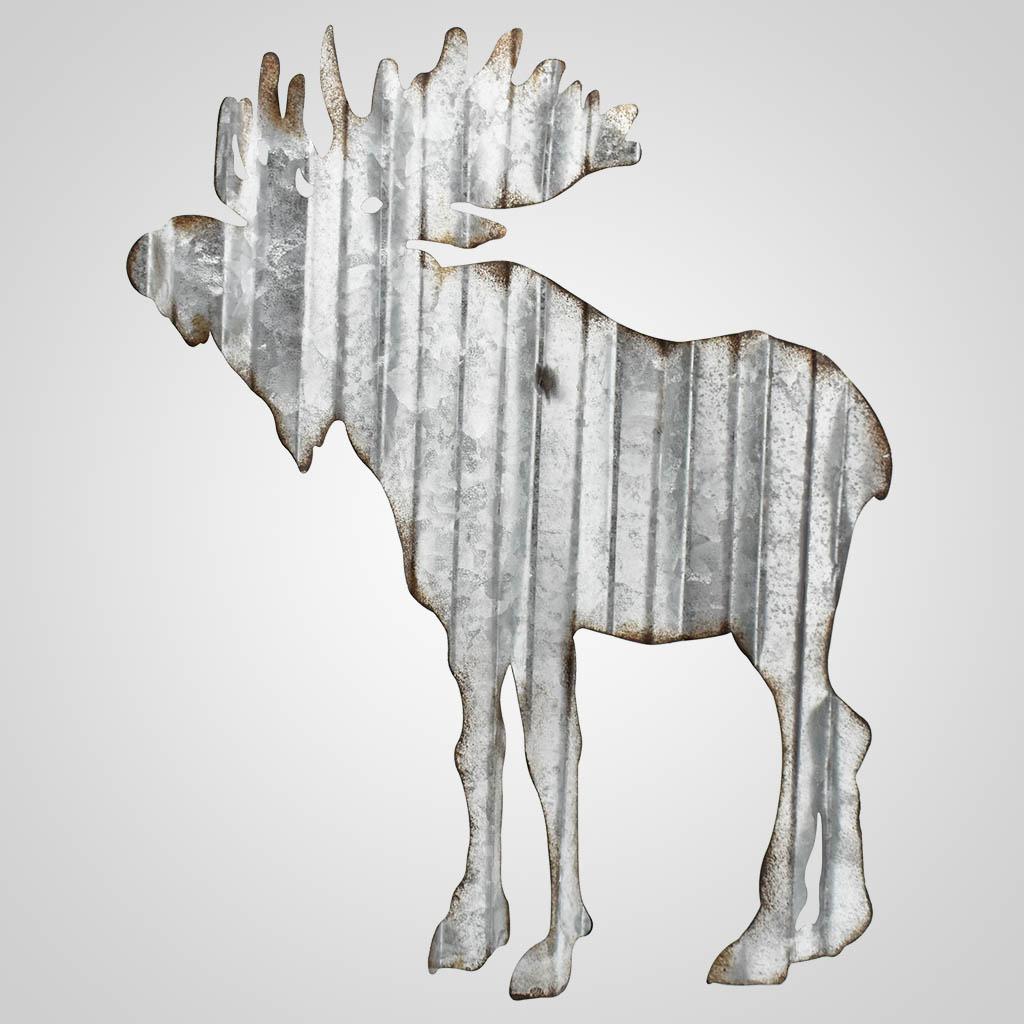 63347 - Corrugated Metal Moose wall Art