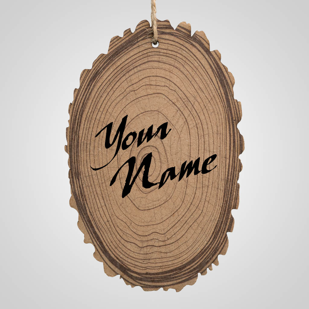 63350IM - Wood Slice Ornament, Name-Drop