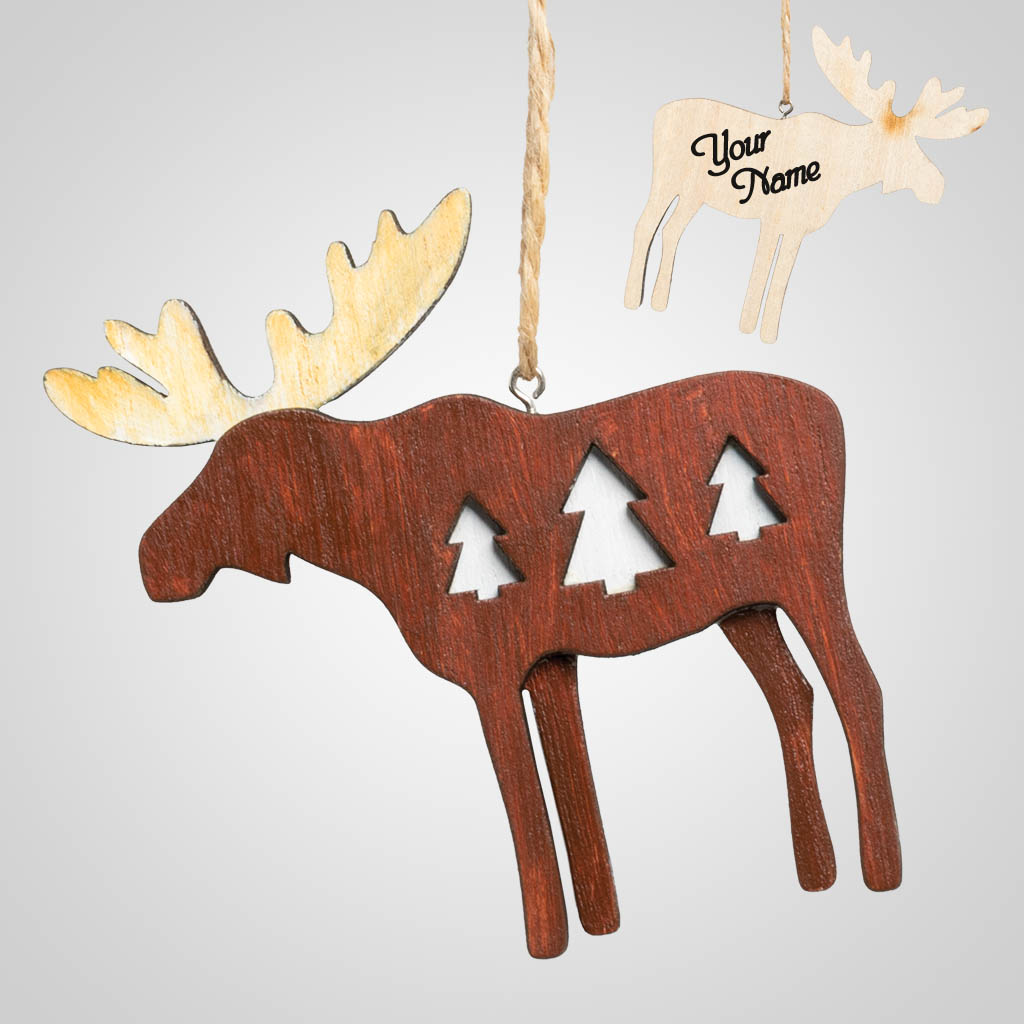 63405IM - Wood Moose Ornament, Name-Drop