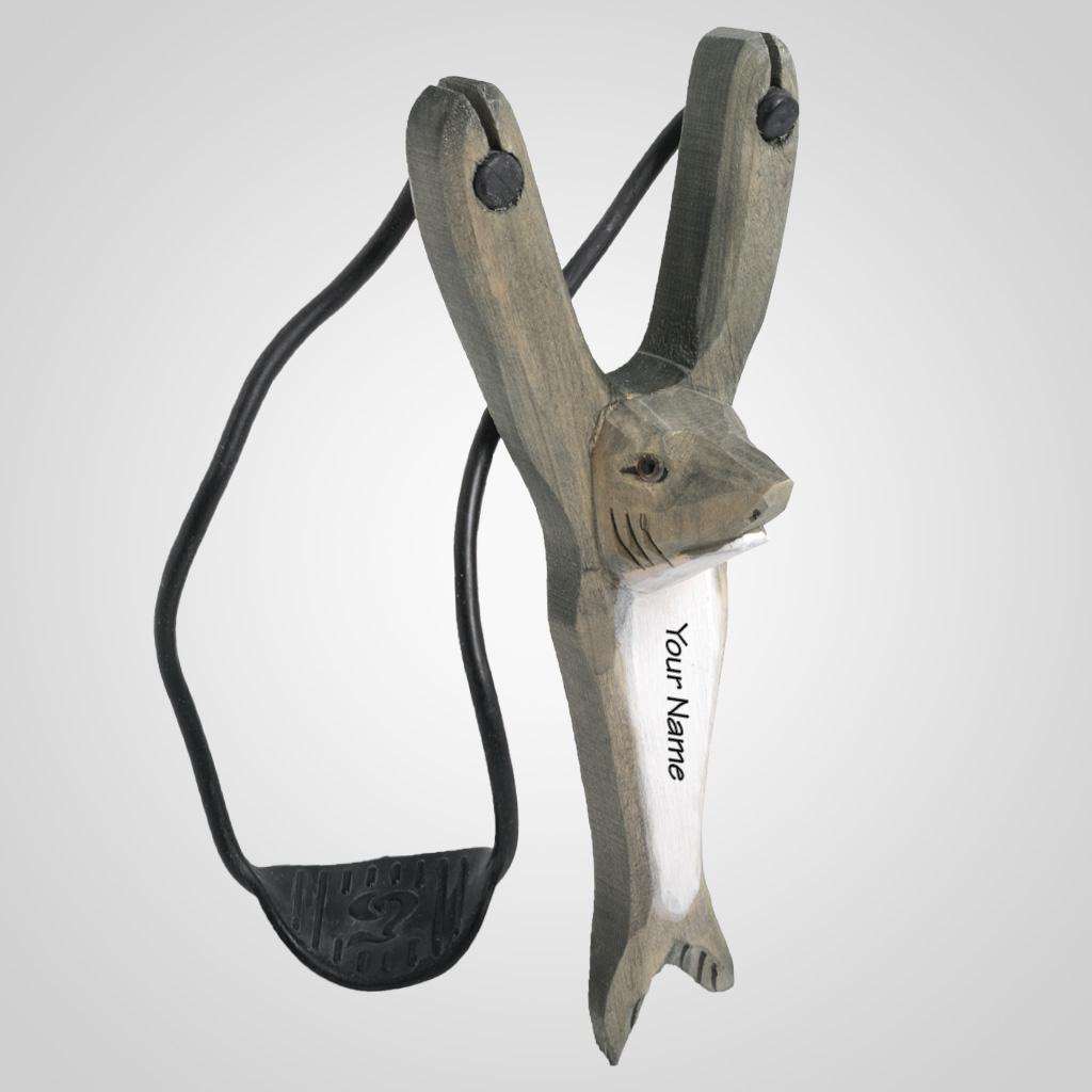 63471IM - Carved Wood Shark Slingshot, Name-Drop