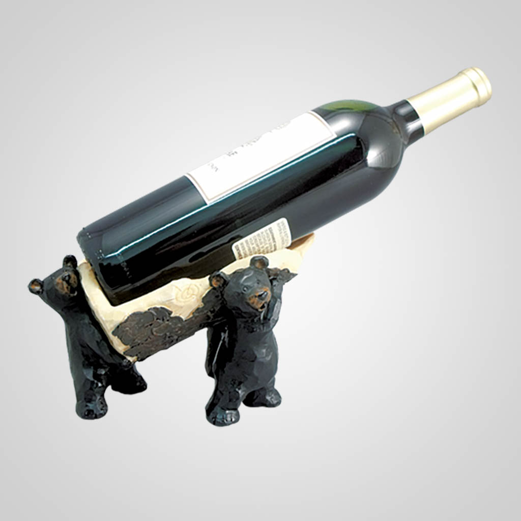 18008 - Carved-Look Bears Wine Bottle Holder