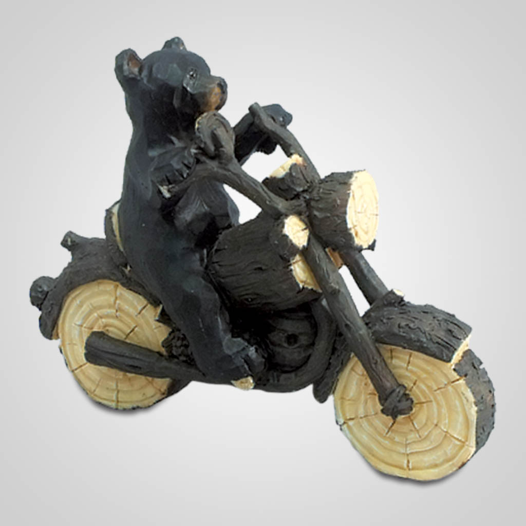 18009 - Carved-Look Bear Motorcycle Rider