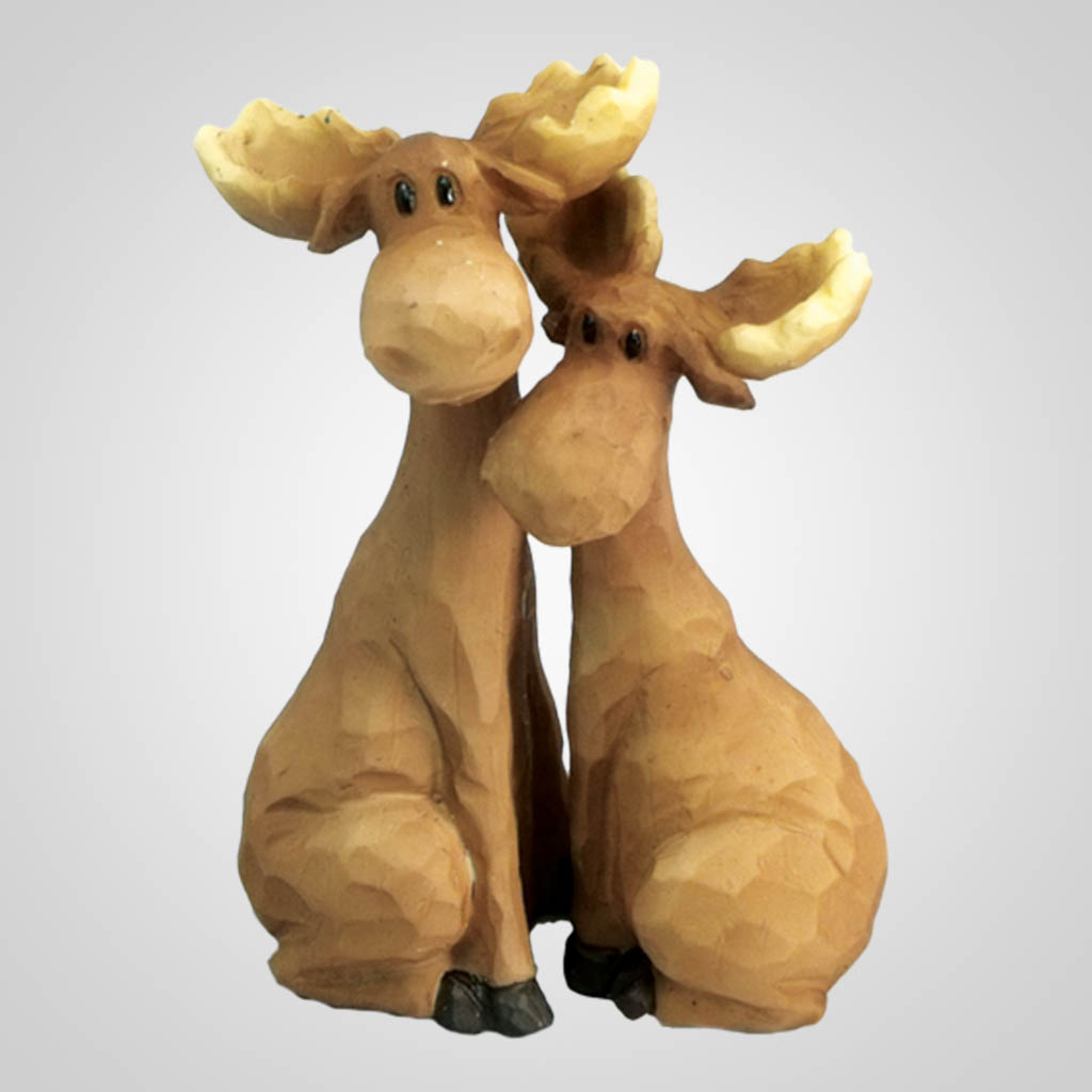 18020 - Carved-Look Hugging Moose Pair