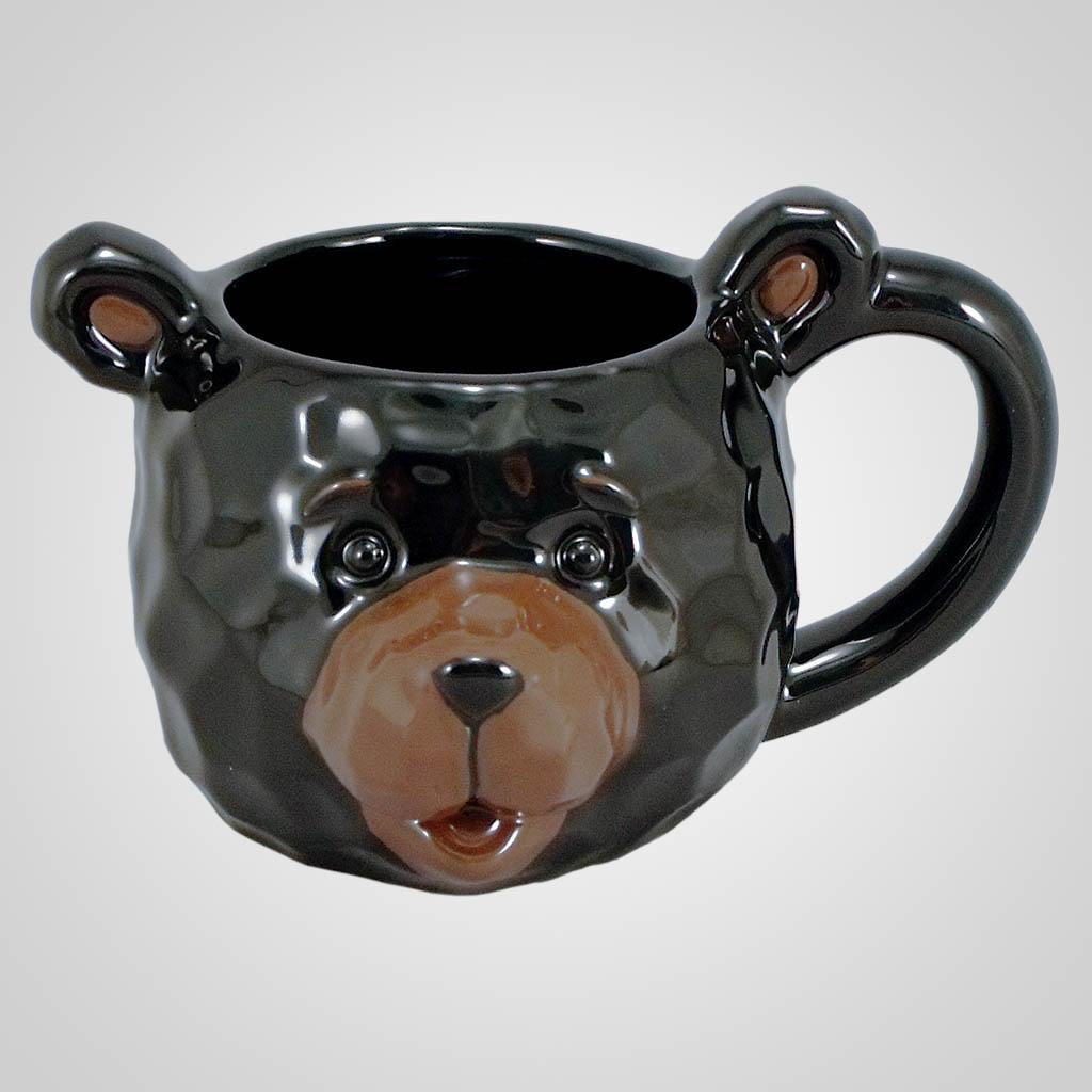 18195 - Black Bear Head Mug, Plain