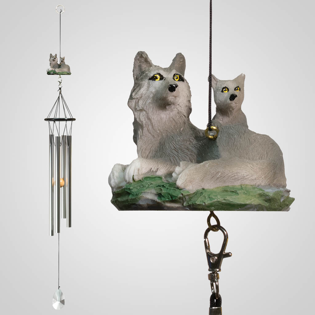18346 - Wolf & Pups Wind Chime