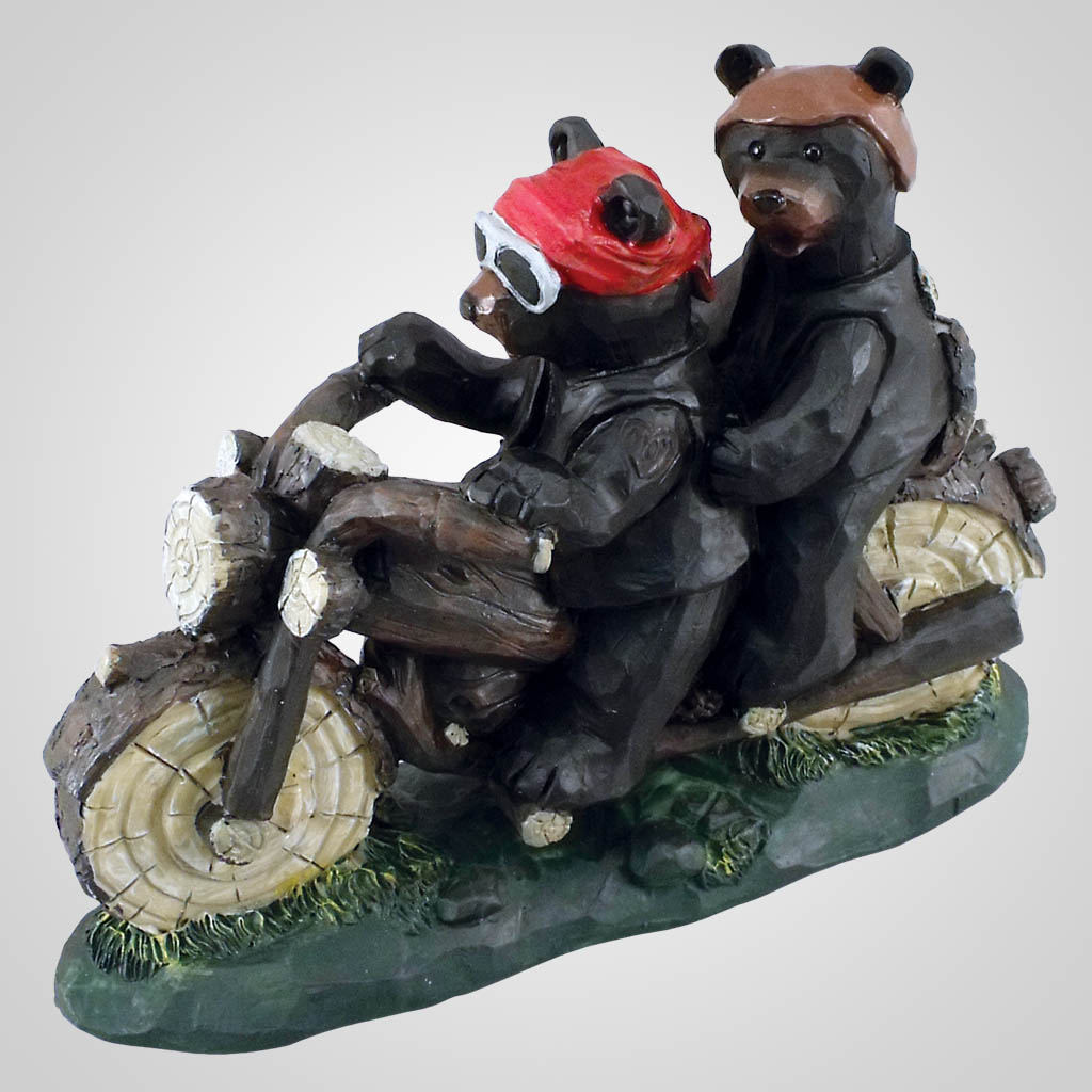 18351 - Bear Couple On Motorcycle