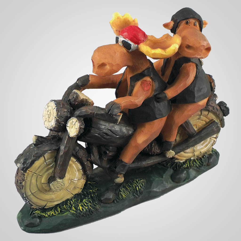 18352 - Moose Motorcycle Rider Couple