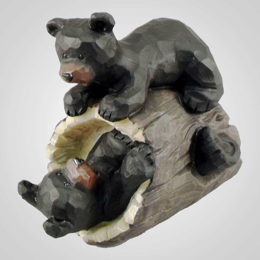 18354 - Bears Playing On Log Figurine