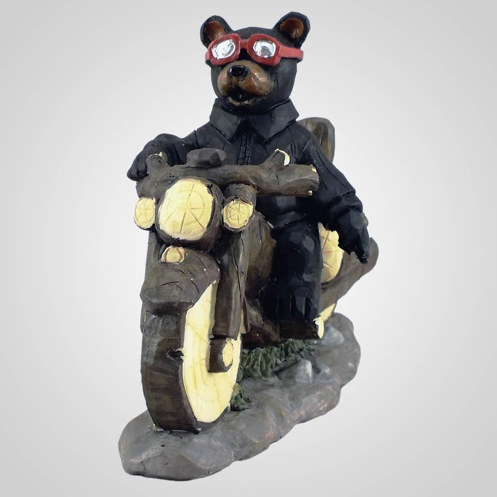 18619 - Biker Wave Bear Figurine
