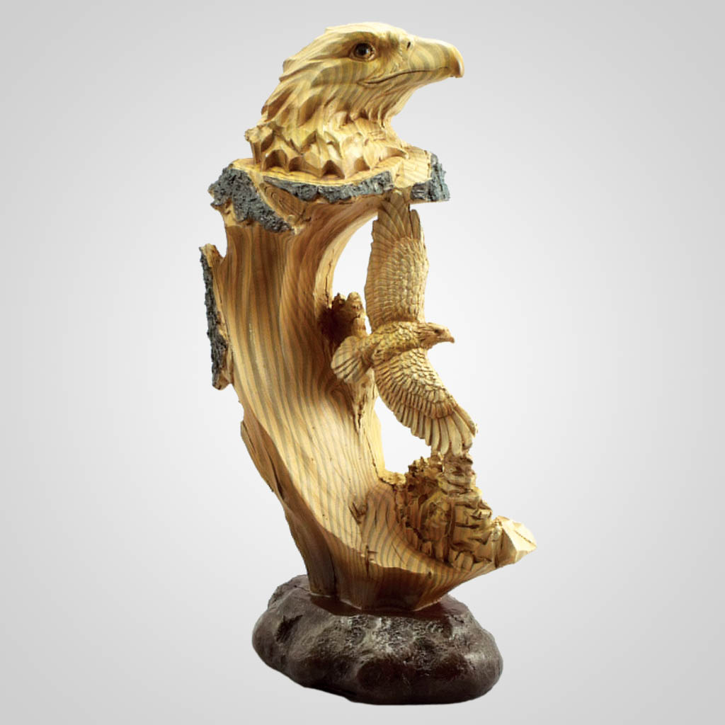 18927 - Carved Wood Look Eagle Diorama