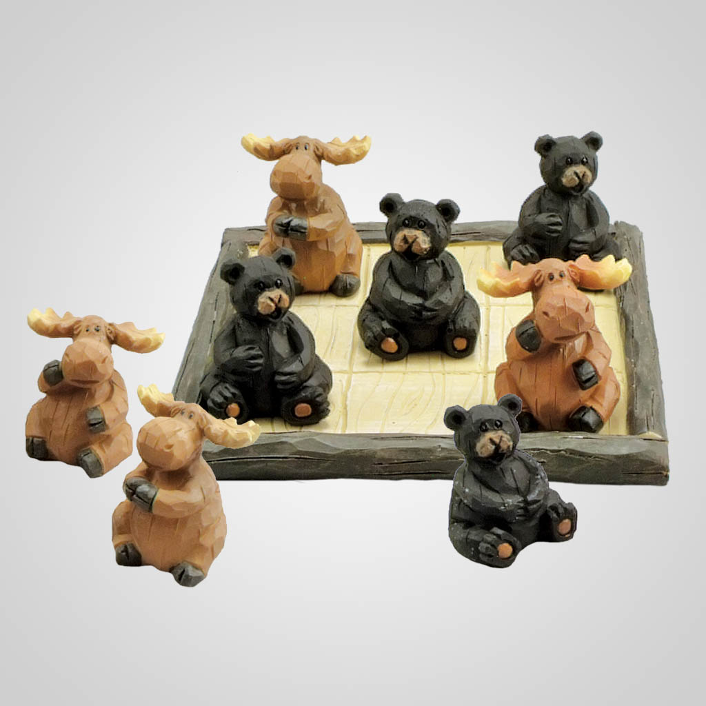 18970 - Bears & Moose Tic Tac Toe Game