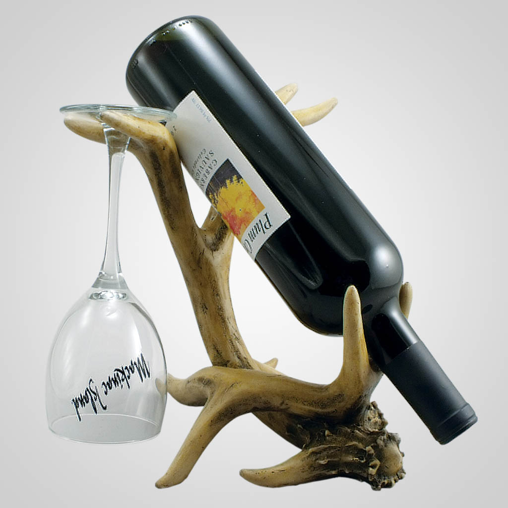 18984 - Antler Wine & Glass holder