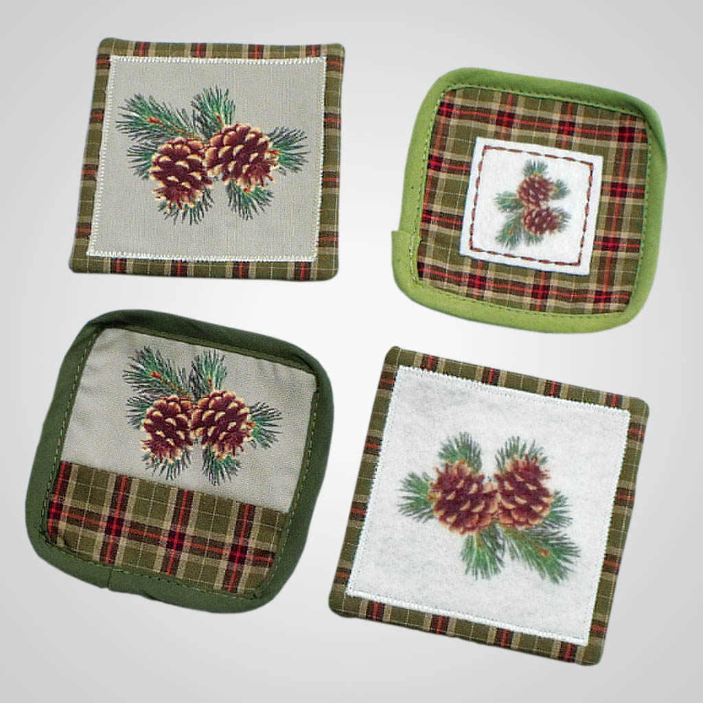 19028 - Pinecone & Plaid Coaster Set