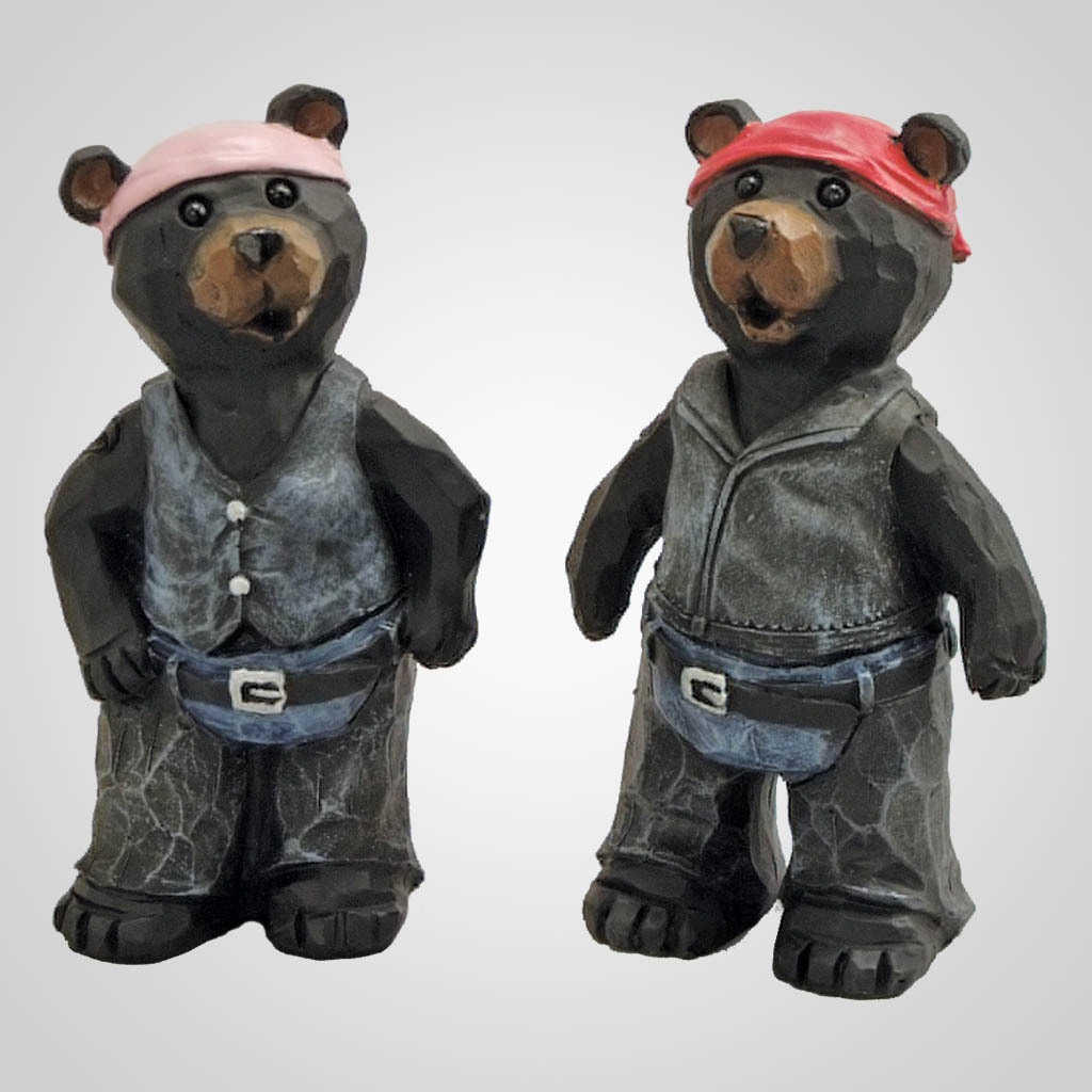 19034 - Carved Look Biker Bear
