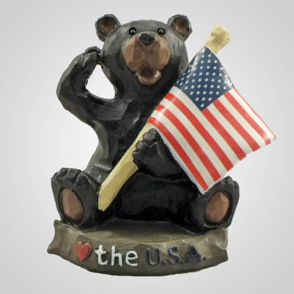 19064 - Patriotic Bear With Flag