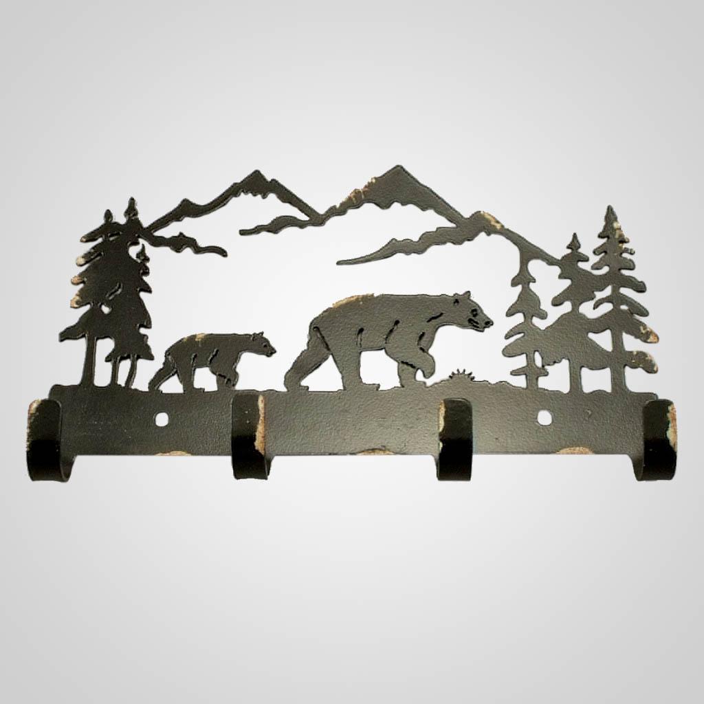 19068 - Metal Bear Wall Hooks