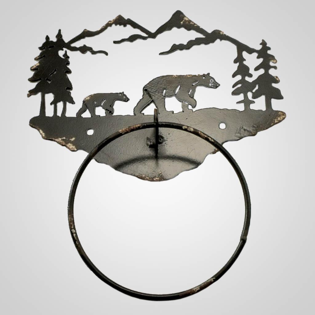 19071 - Metal Bear Towel Ring
