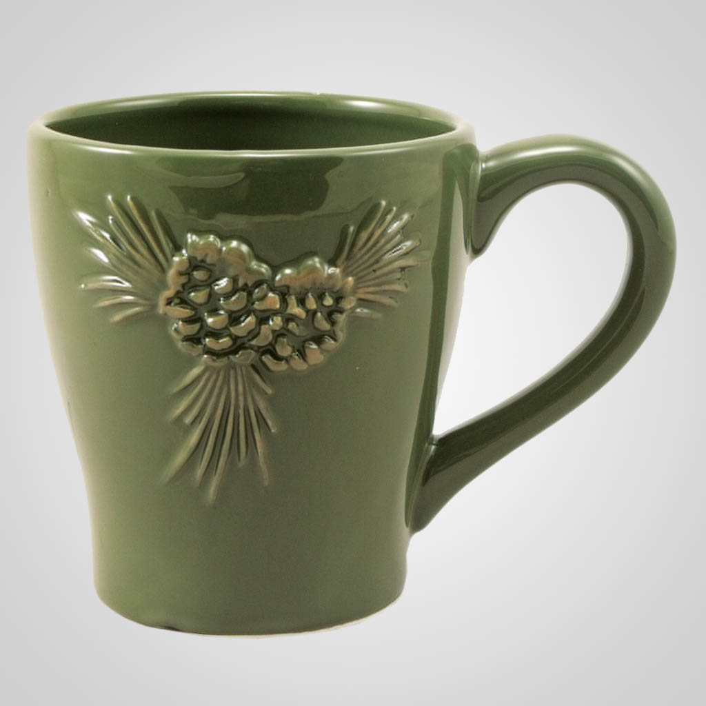 19156 - Ceramic Mug With Embossed Pine Design