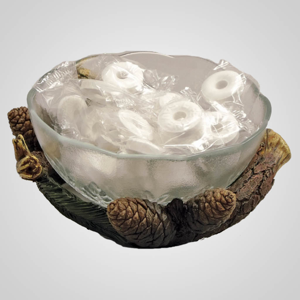 19162 - Glass Bowl & Pinecone Holder