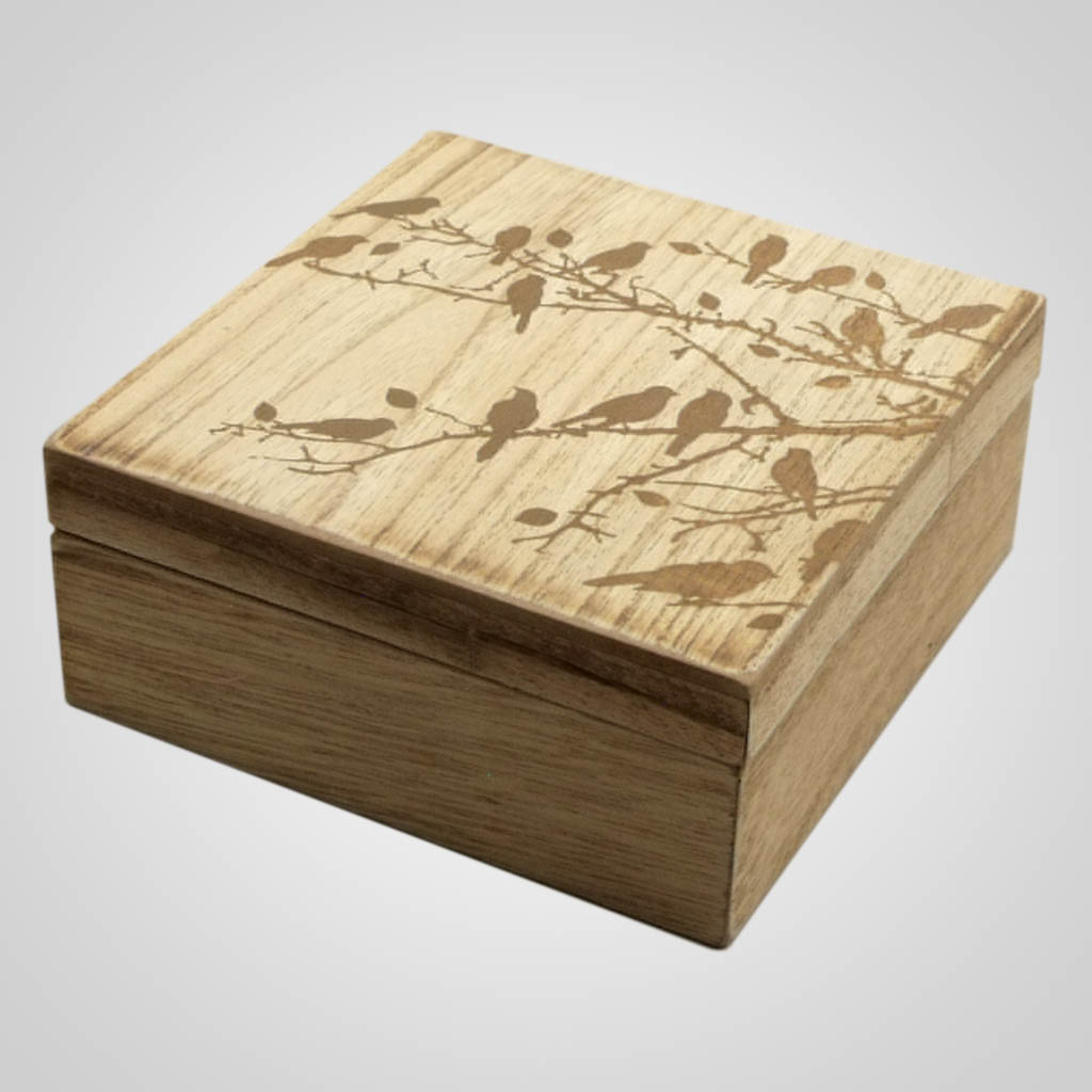 19167 - Bird Design Wood Trinket Box