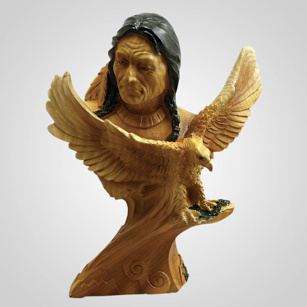 19179 - Carved Wood Look Warrior & Eagle