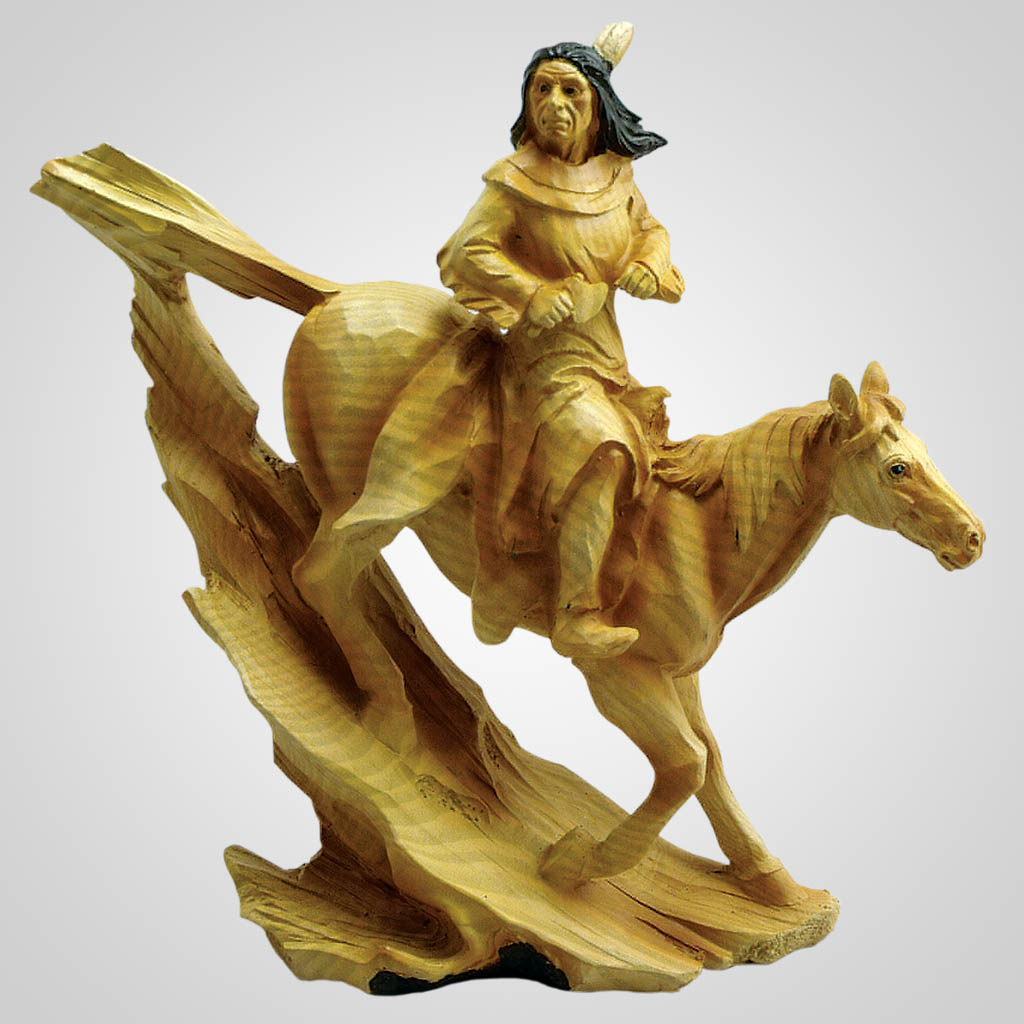 19181 - Carved Wood Look Native American On Horse