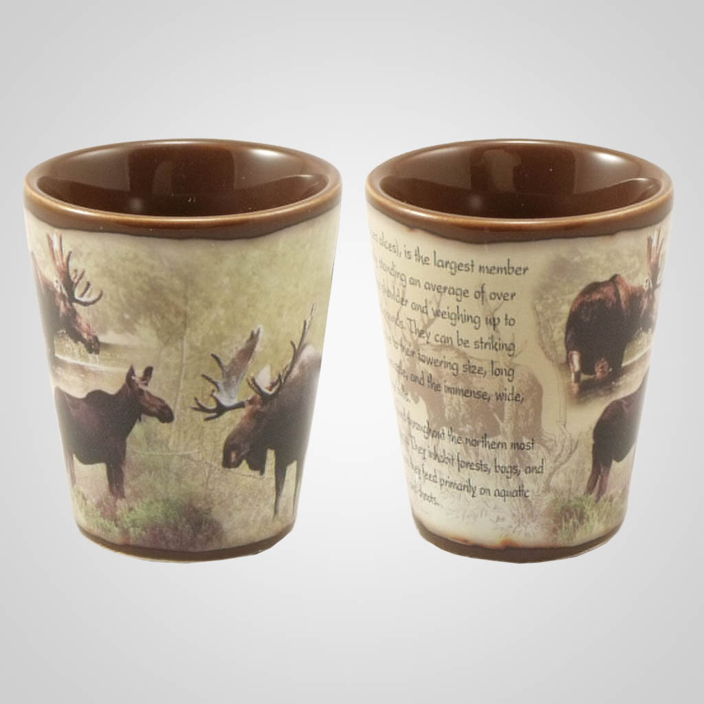 19213 - Moose Full-Wrap Shot Glass, Plain