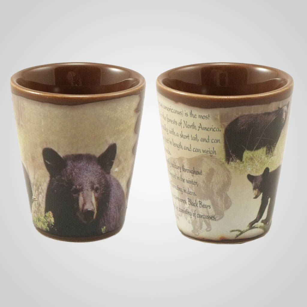 19214 - Black Bear Full-Wrap Shot Glass, Plain