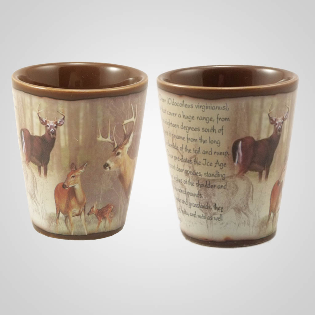 19215 - Whitetail Deer Full-Wrap Shot Glass, Plain