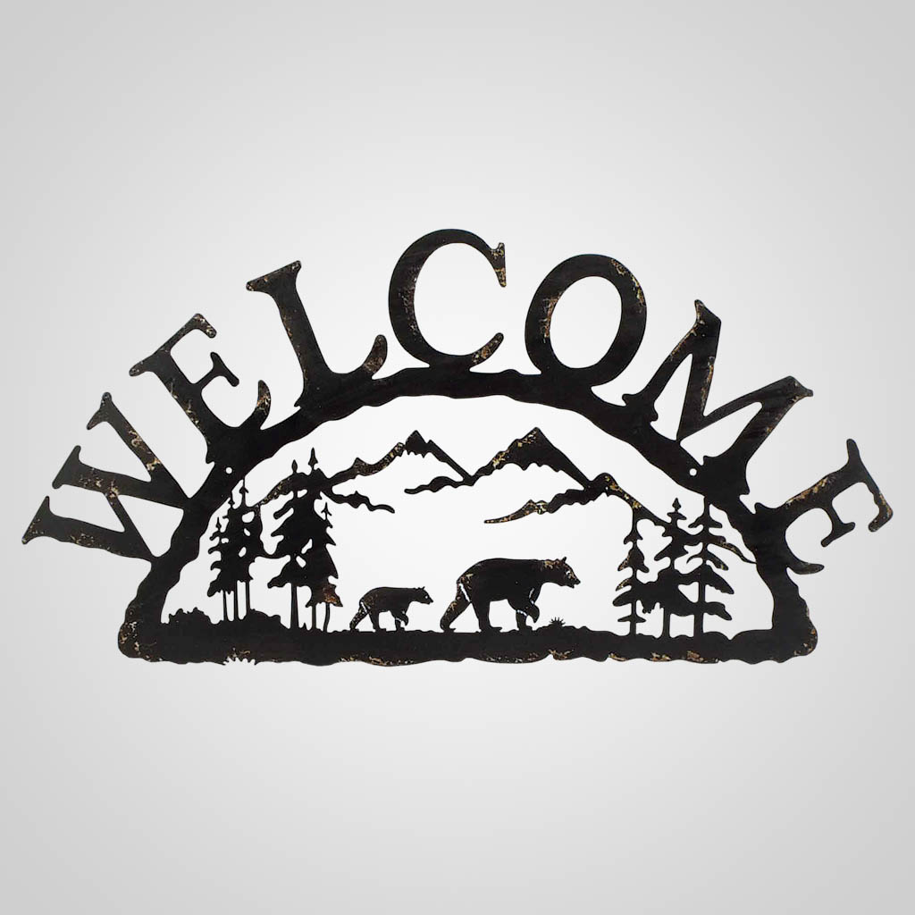 19320 - Metal Bear Welcome Wall Sign