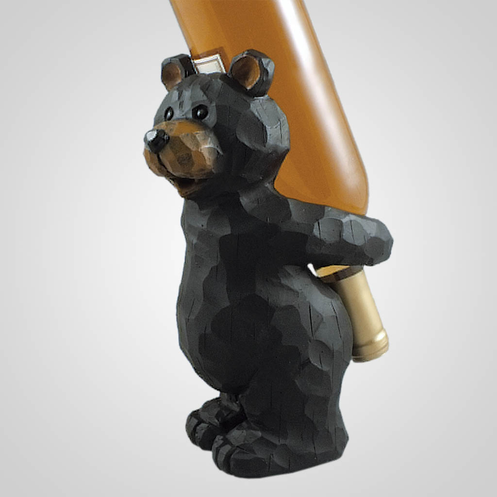 19343 - Cute Carved Bear Wine Holder