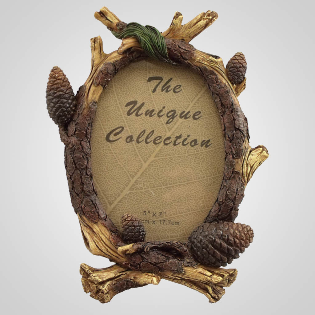 19359 - Pine Branch & Cone Photo Frame
