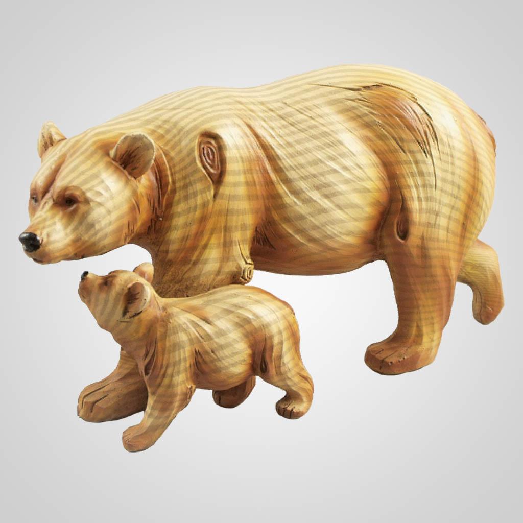 19396 - Woodgrain Look Bear & Cub Figurine