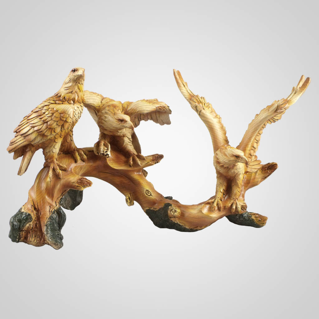19397 - Carved Wood Look Eagles