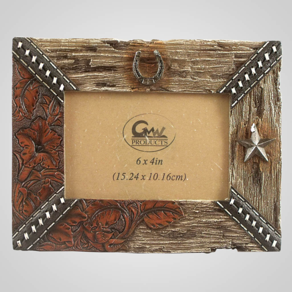 19458 - Leather & Wood Look Photo Frame