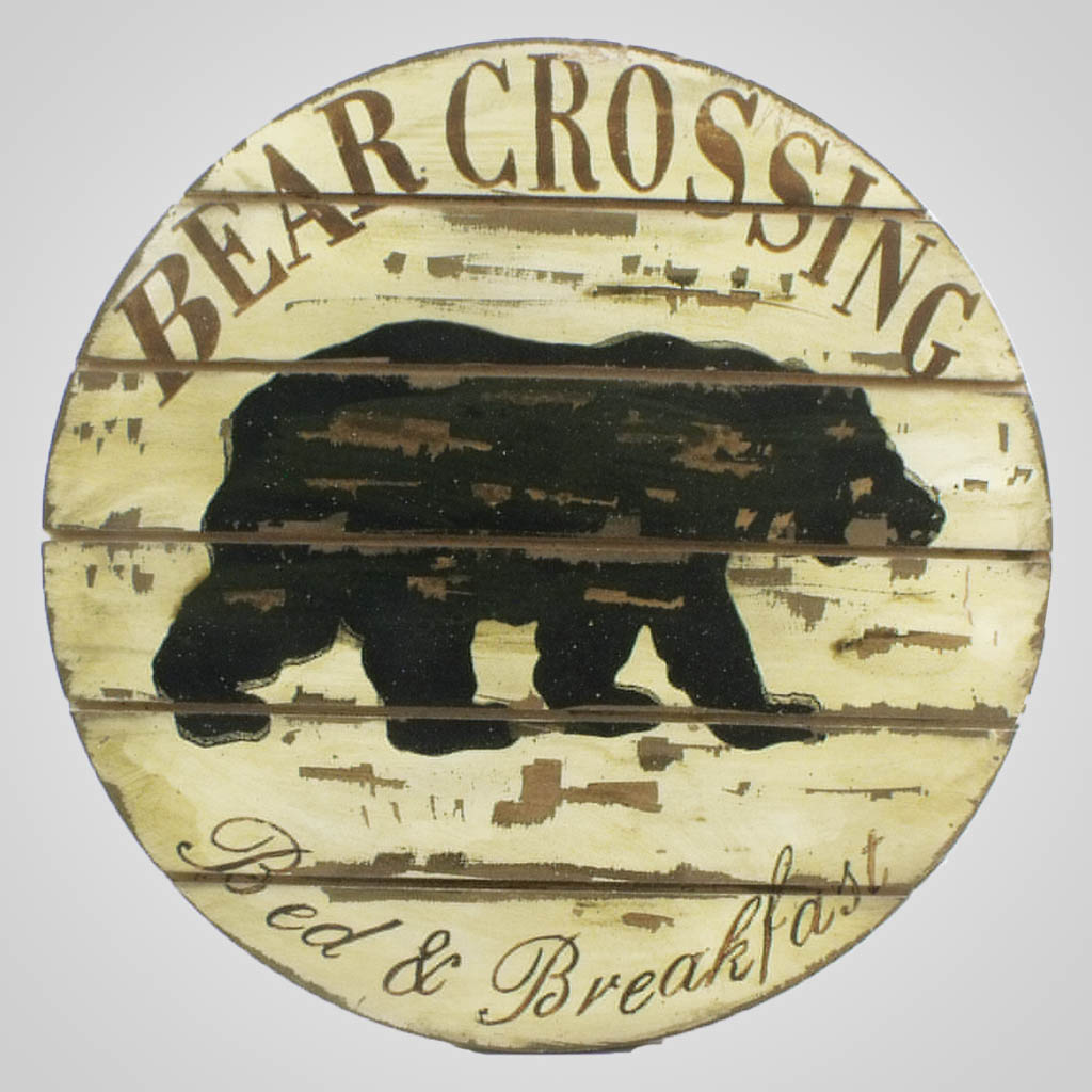 19499 - Bear Crossing Round Plaque