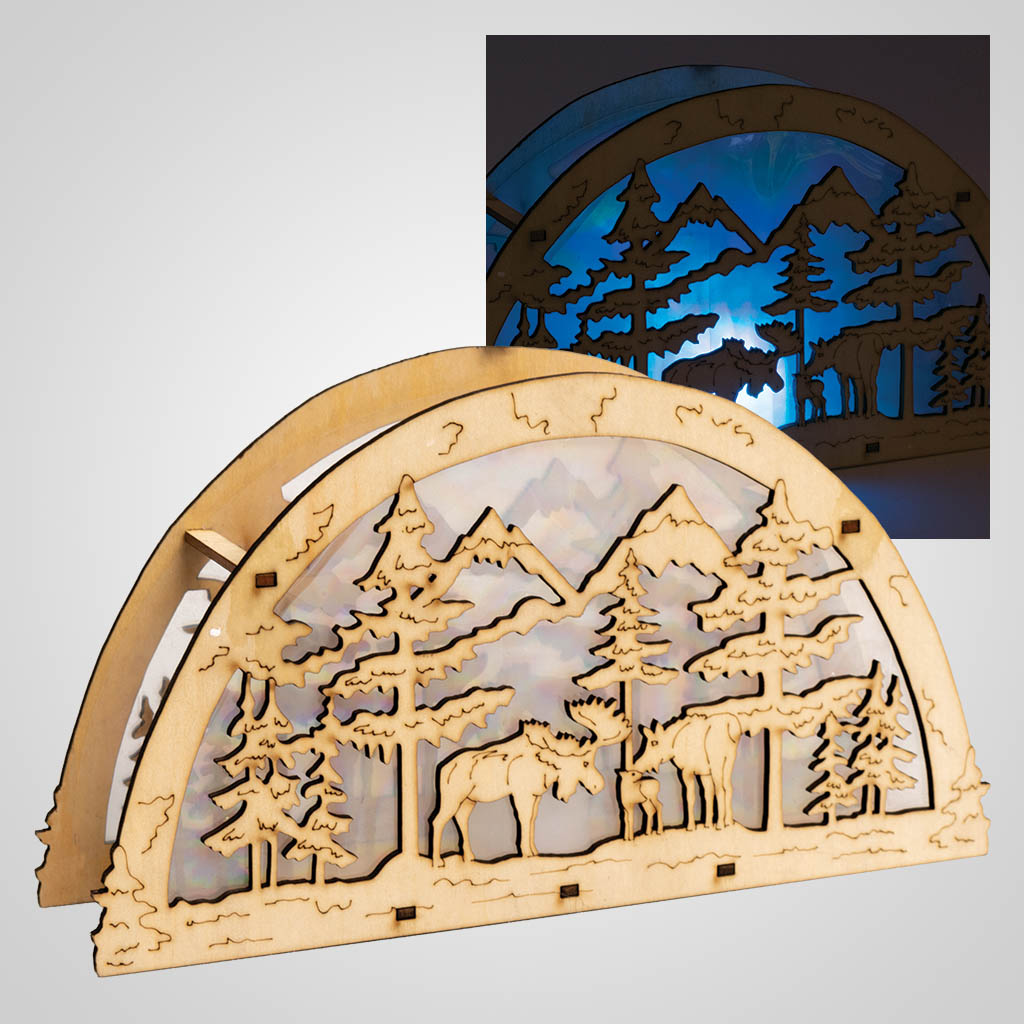 19511 - Moose LED Light in Arched Wood Fixture